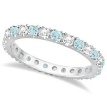 Diamond and Aquamarine Eternity Ring Stack Band 14K White Gold (0.51ct) #PAPPS20558