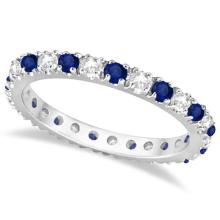 Diamond and Blue Sapphire Eternity Band Ring Guard 14K White Gold (0.51ct) #PAPPS20528