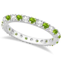Diamond and Peridot Eternity Ring Stackable Band 14K White Gold (0.64ct) #PAPPS20486