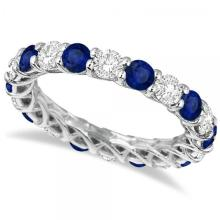 Luxury Diamond and Blue Sapphire Eternity Ring Band 14k White Gold 4.20ct #PAPPS20798