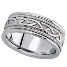 Hand Made Celtic Wedding Band in 14k White Gold (8mm) #PAPPS21079