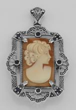 Lovely Italian Shell Cameo Pin or Pendant with Blue Sapphires - Sterling Silver #PAPPS97844