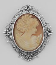 Victorian Style Floral Handcarved Italian Cameo Pin Pendant Sterling Silver #PAPPS97845