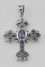 Marcasite Cross Pendant with Amethyst - Sterling Silver #PAPPS97780