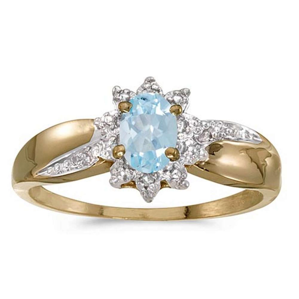 Certified 14k Yellow Gold Oval Aquamarine And Diamond Ring 0.3 CTW #PAPPS50933
