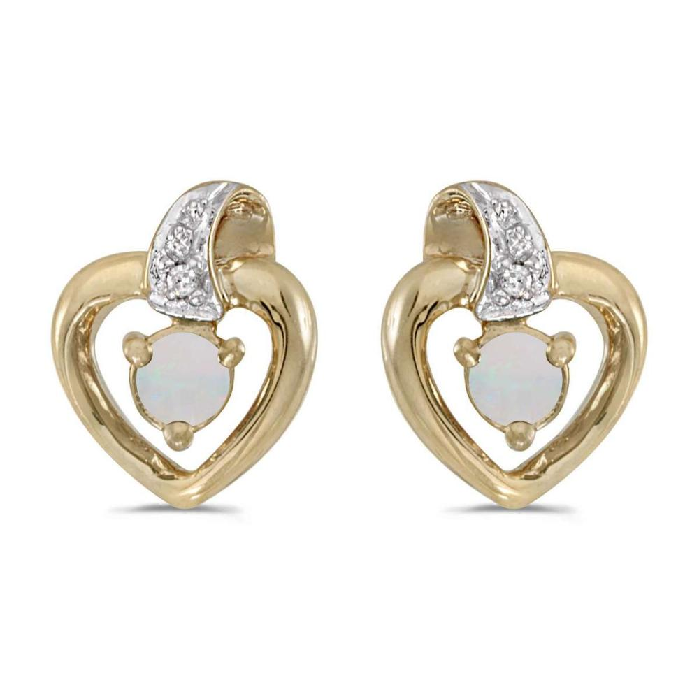 Certified 10k Yellow Gold Round Opal And Diamond Heart Earrings 0.09 CTW #PAPPS25799