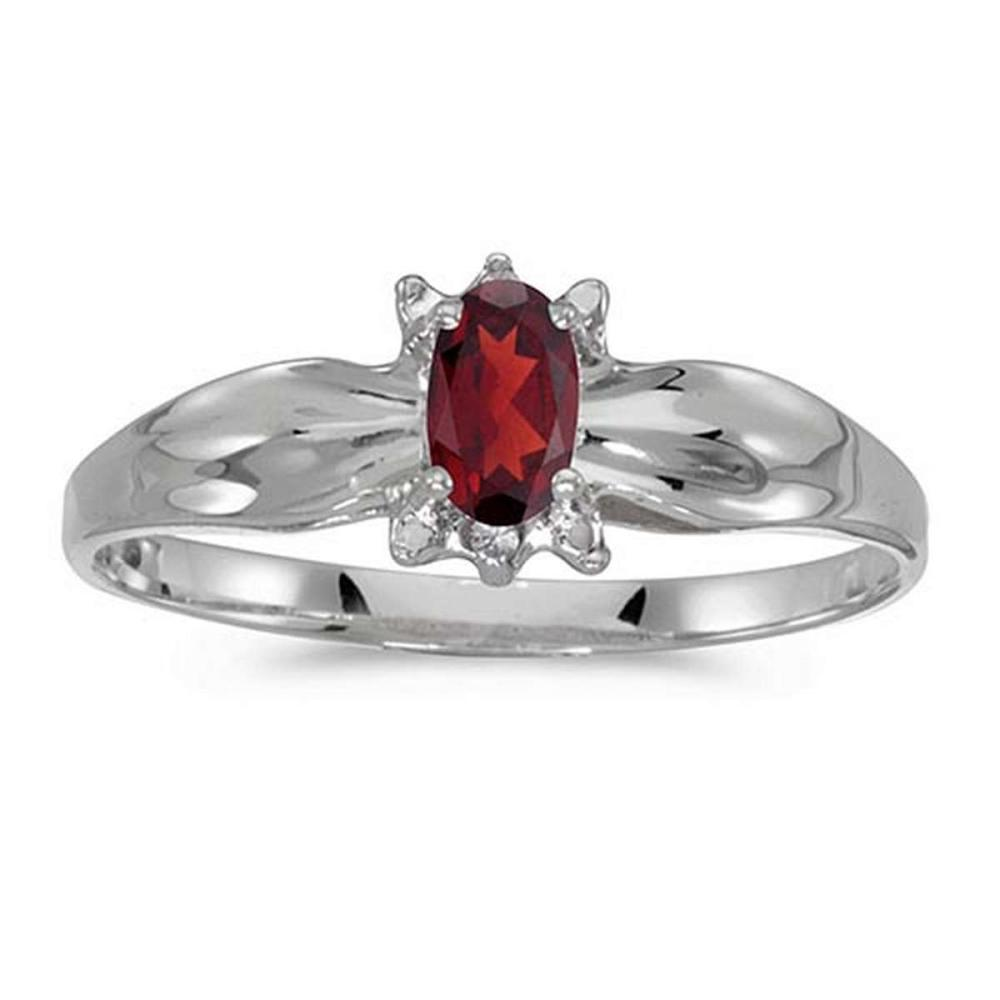 Certified 14k White Gold Oval Garnet And Diamond Ring 0.24 CTW #PAPPS50619