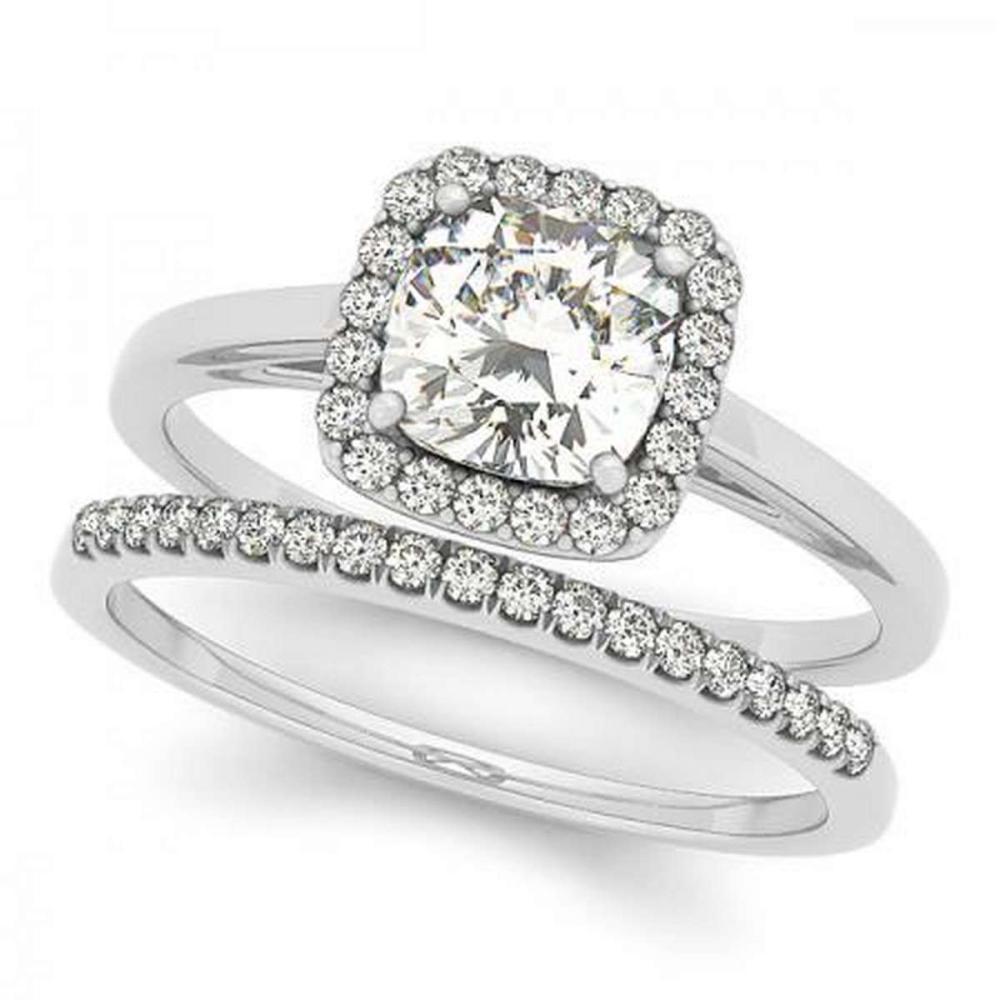 CERTIFIED PLATINUM 1.18 CTW G-H/VS-SI1 DIAMOND HALO BRIDAL SET #PAPPS86721