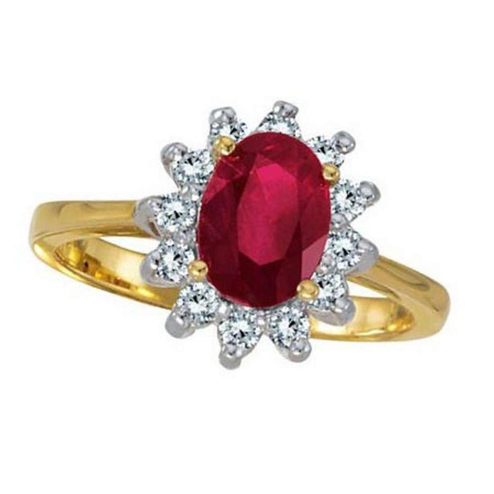 Lady Diana Oval Ruby and Diamond Ring 14k Yellow Gold (1.50 ctw) #PAPPS21252