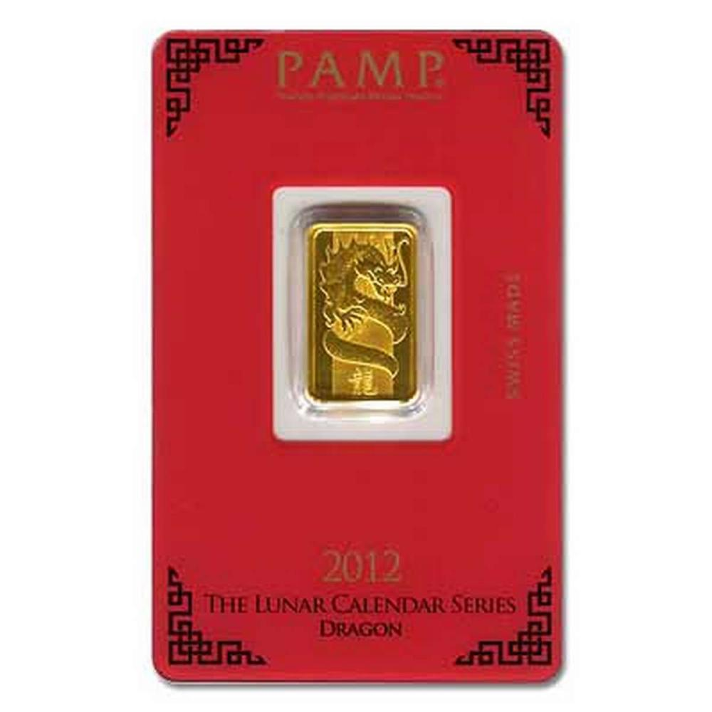 PAMP Suisse 5 Gram Gold Bar 2012 - Dragon Design #PAPPS77902