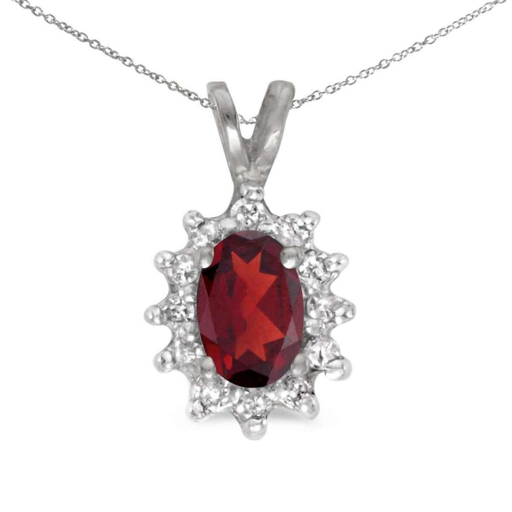 Certified 14k White Gold Oval Garnet And Diamond Pendant 0.59 CTW #PAPPS25148