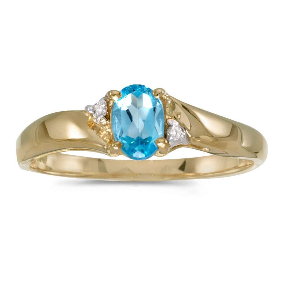 Certified 14k Yellow Gold Oval Blue Topaz And Diamond Ring 0.42 CTW #PAPPS25645