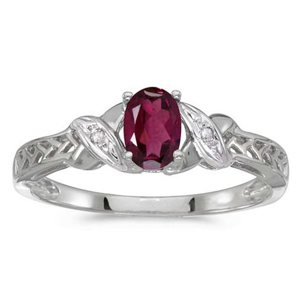 Certified 10k White Gold Oval Rhodolite Garnet And Diamond Ring 0.5 CTW #PAPPS50913