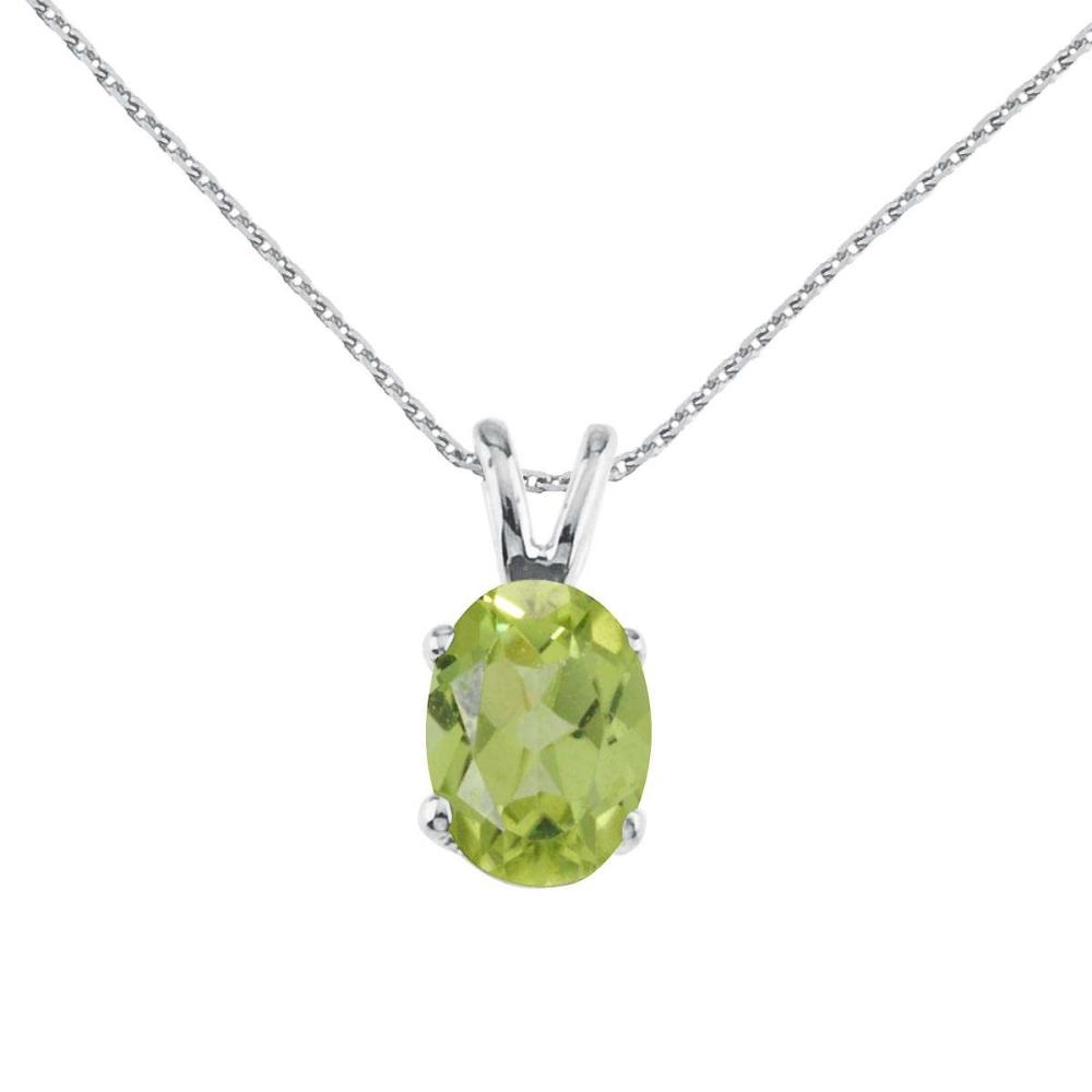Certified 14k White Gold Oval Large 6x8 mm Peridot Pendant 1.35 CTW #PAPPS25176