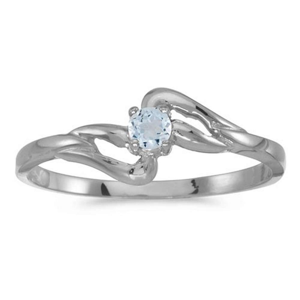 Certified 14k White Gold Round Aquamarine Ring 0.07 CTW #PAPPS50638