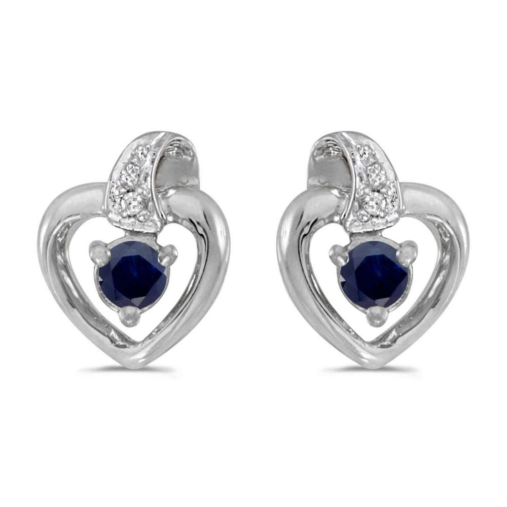 Certified 10k White Gold Round Sapphire And Diamond Heart Earrings 0.19 CTW #PAPPS25809