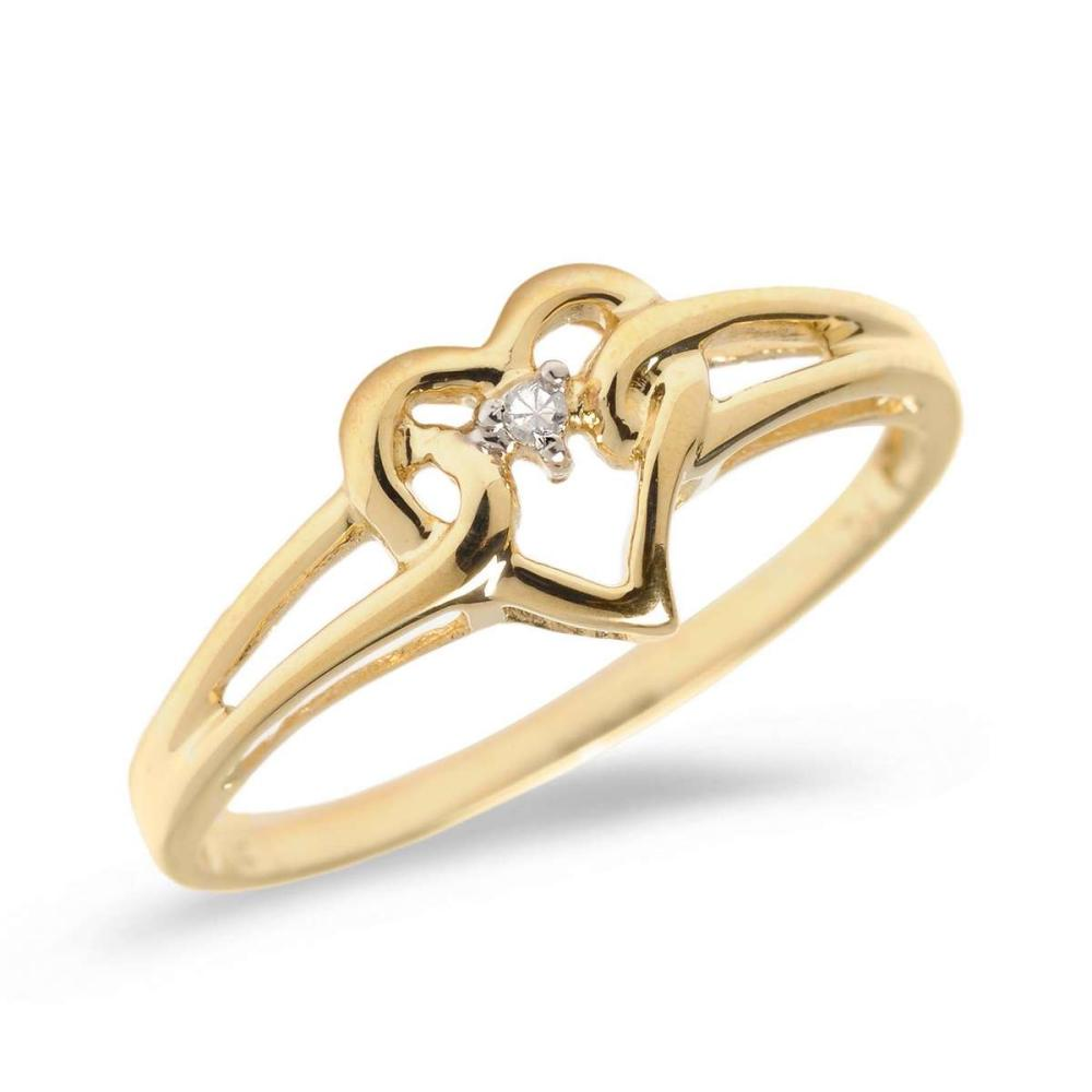 Certified 14K Yellow Gold Diamond Heart Ring 0.01 CTW #PAPPS25657