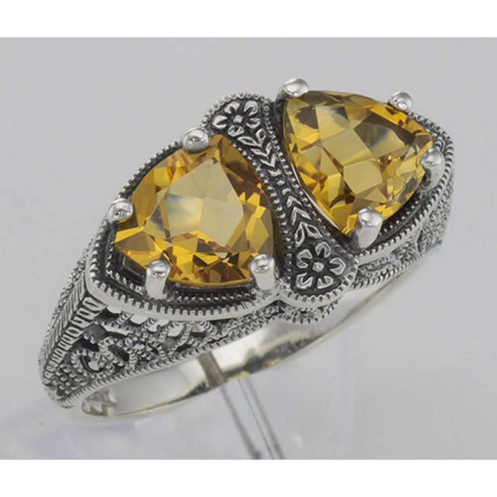 Unique Art Deco Style Citrine Filigree Ring - Sterling Silver #PAPPS98505