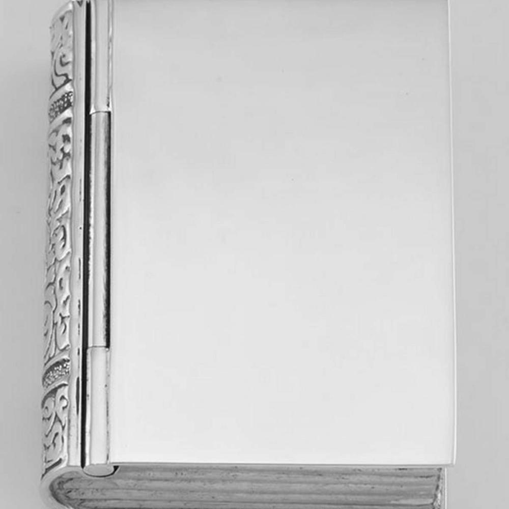 Sterling Silver Book Pillbox High Polish Engravable Design #PAPPS98492