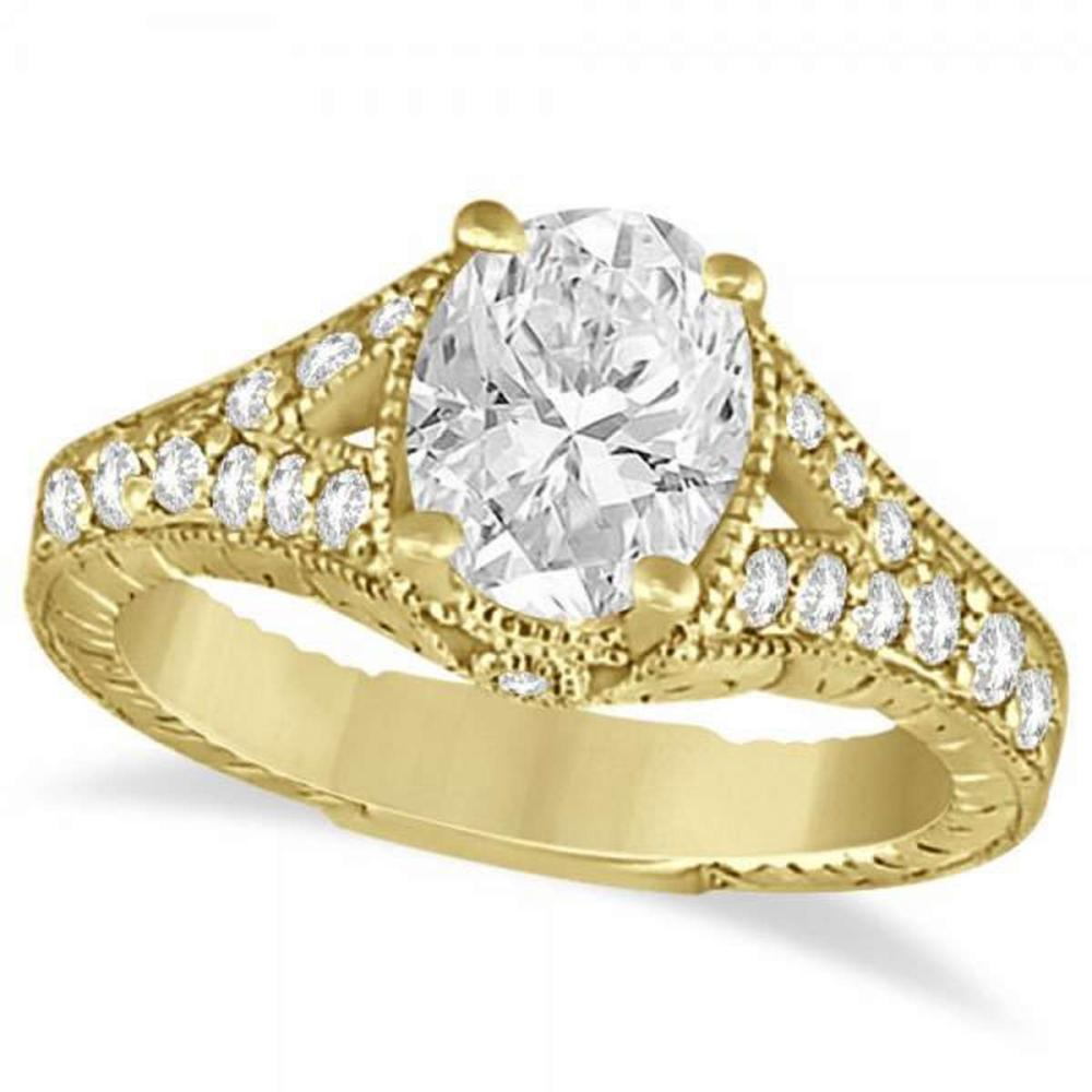 Antique Art Deco Oval Diamond Engagement Ring 14K Yellow Gold (1.03ct) #PAPPS21197