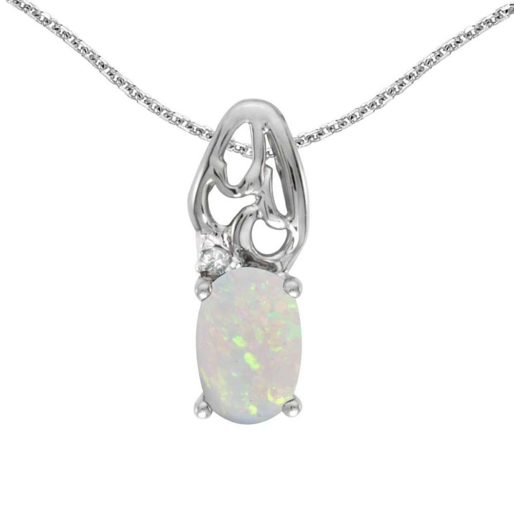 Certified 14k White Gold Oval Opal And Diamond Pendant 0.2 CTW #PAPPS25155