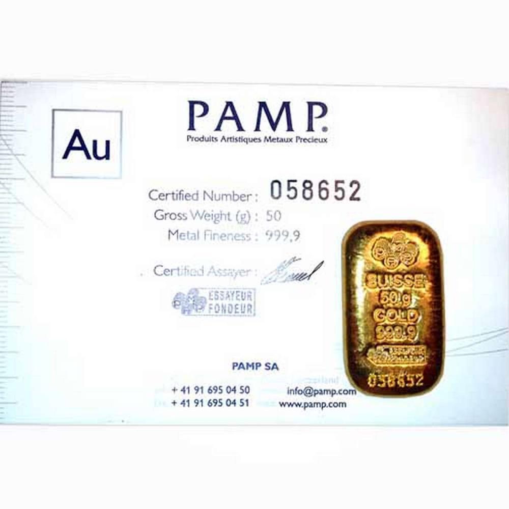 PAMP Suisse 50 Gram Gold Bar - Poured Design #PAPPS77840