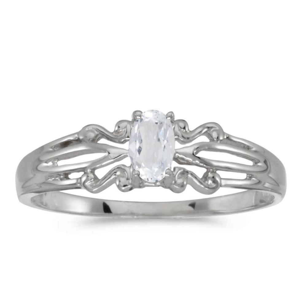 Certified 14k White Gold Oval White Topaz Ring 0.23 CTW #PAPPS25622
