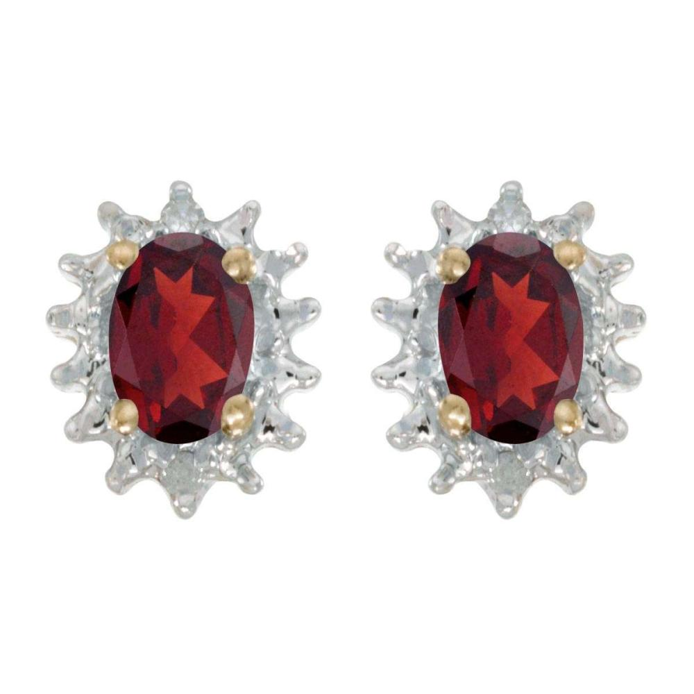 Certified 14k Yellow Gold Oval Garnet And Diamond Earrings 0.98 CTW #PAPPS25816