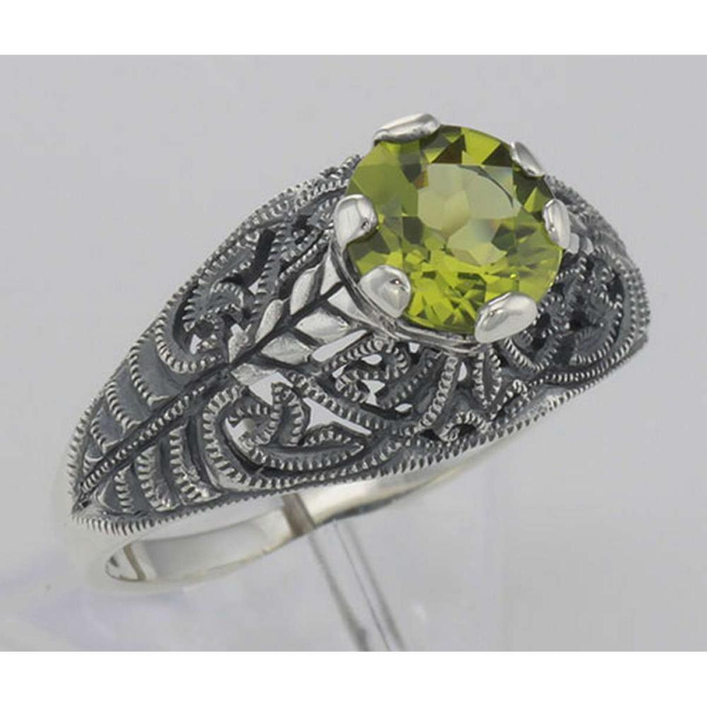 Victorian Style Genuine Peridot Solitaire Filigree Ring - Sterling Silver #PAPPS98517