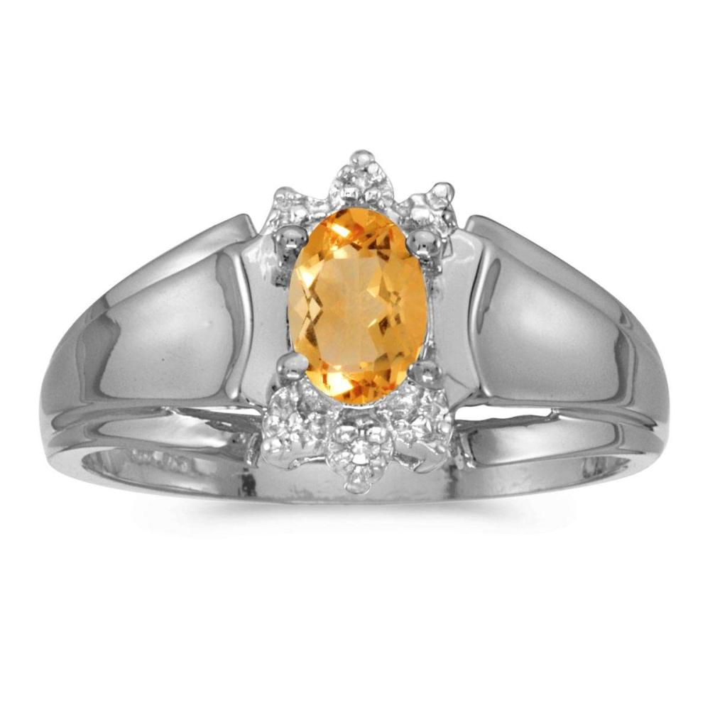 Certified 14k White Gold Oval Citrine And Diamond Ring 0.32 CTW #PAPPS25615