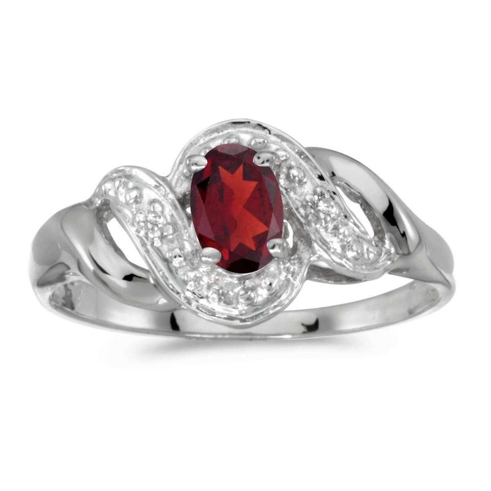 Certified 14k White Gold Oval Garnet And Diamond Swirl Ring 0.48 CTW #PAPPS25614