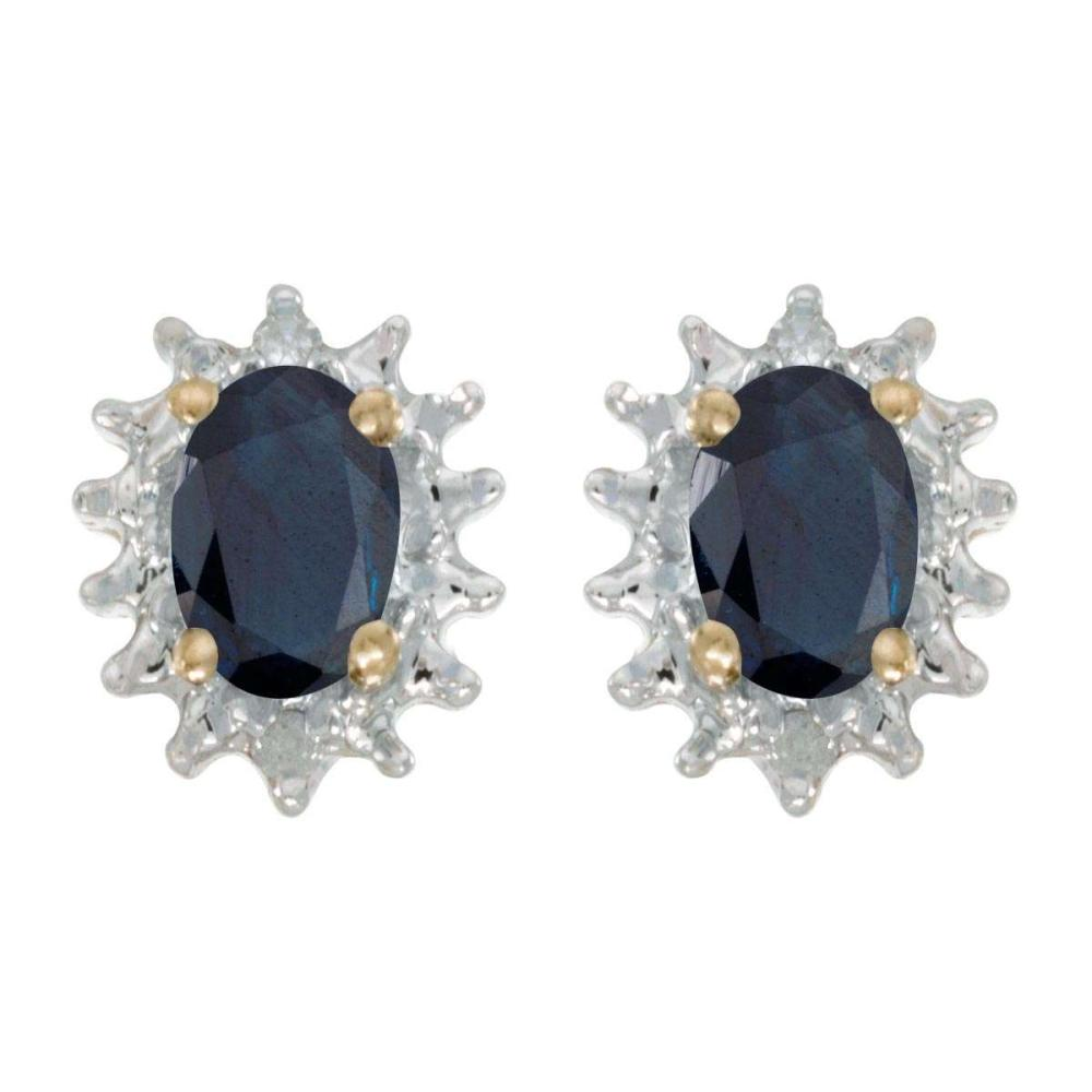 Certified 14k Yellow Gold Oval Sapphire And Diamond Earrings 0.82 CTW #PAPPS25822