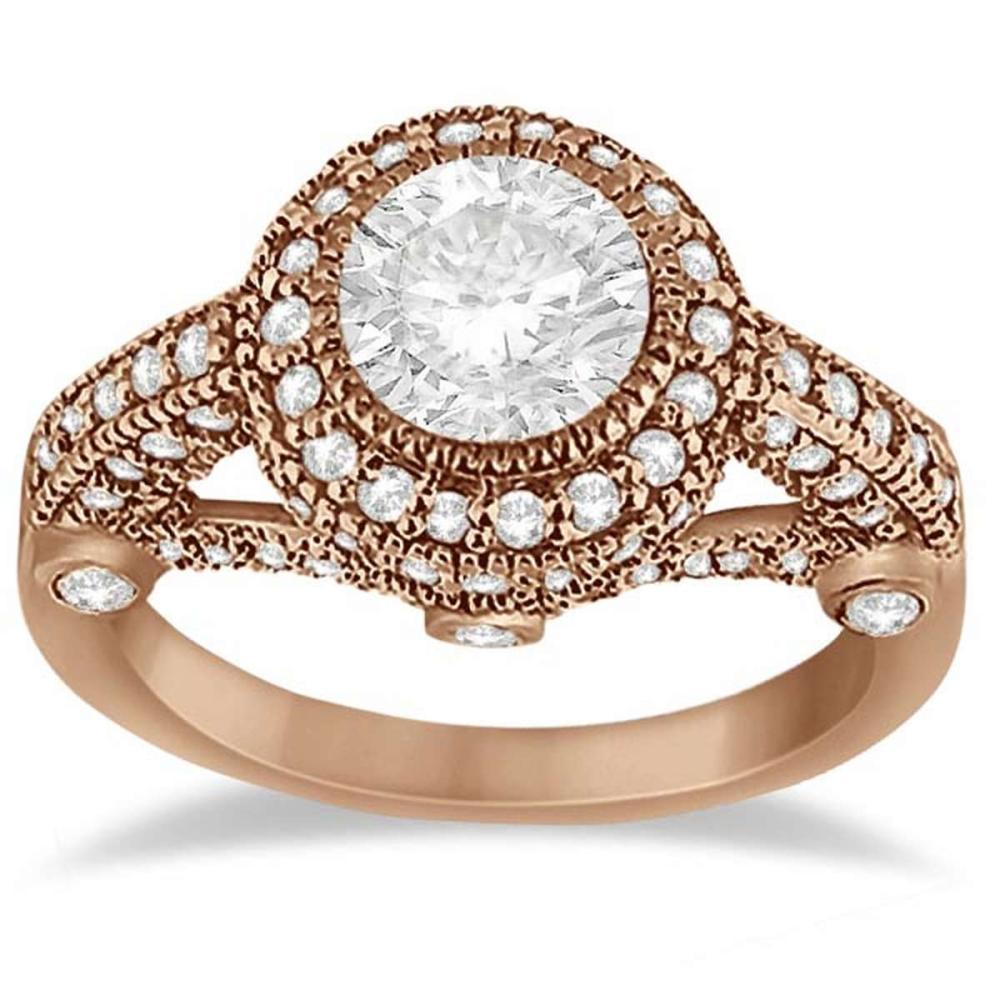 Vintage Diamond Halo Art Deco Engagement Ring 18k Rose Gold (1.47ct) #PAPPS21213