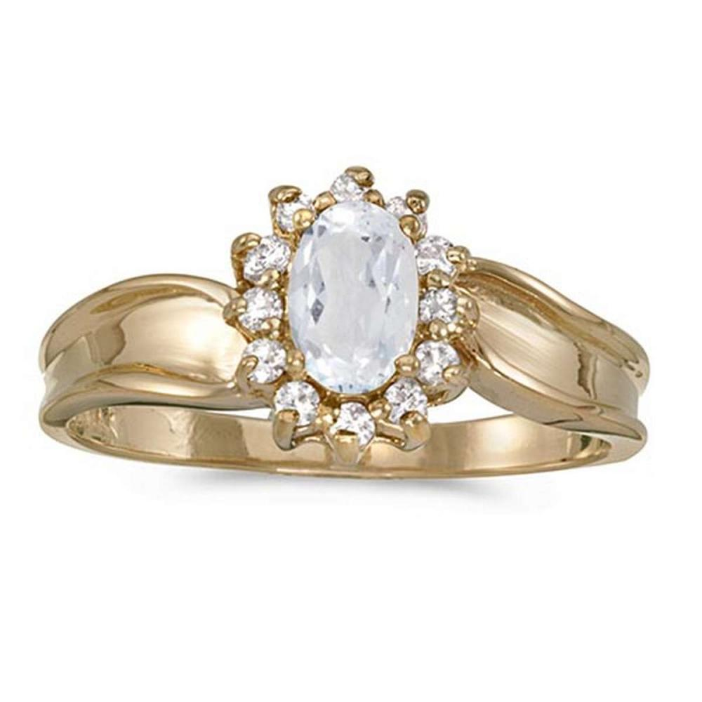 Certified 14k Yellow Gold Oval White Topaz And Diamond Ring 0.62 CTW #PAPPS50958