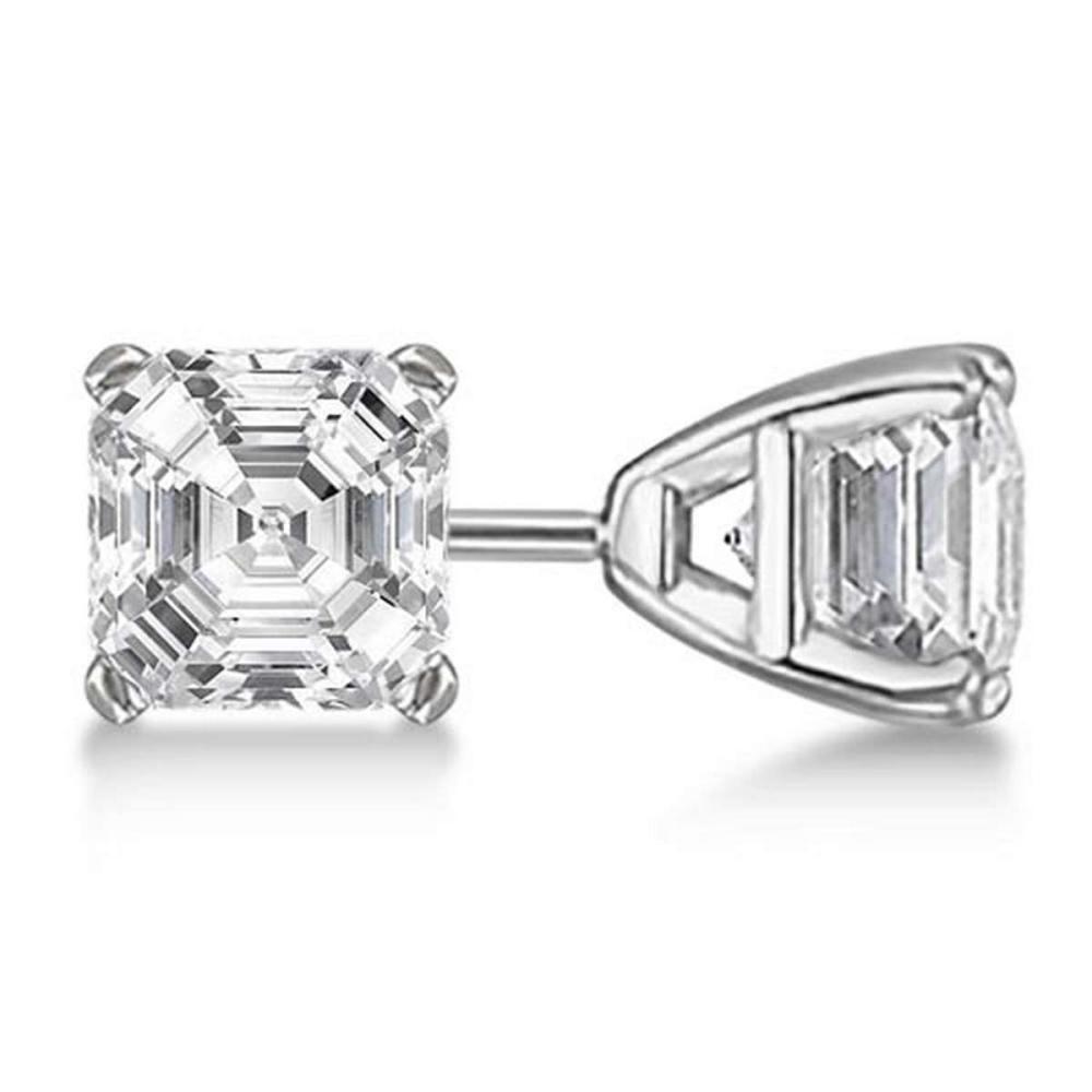 1.00ct. Asscher-Cut Diamond Stud Earrings Platinum (G-H VS2-SI1) #PAPPS21219