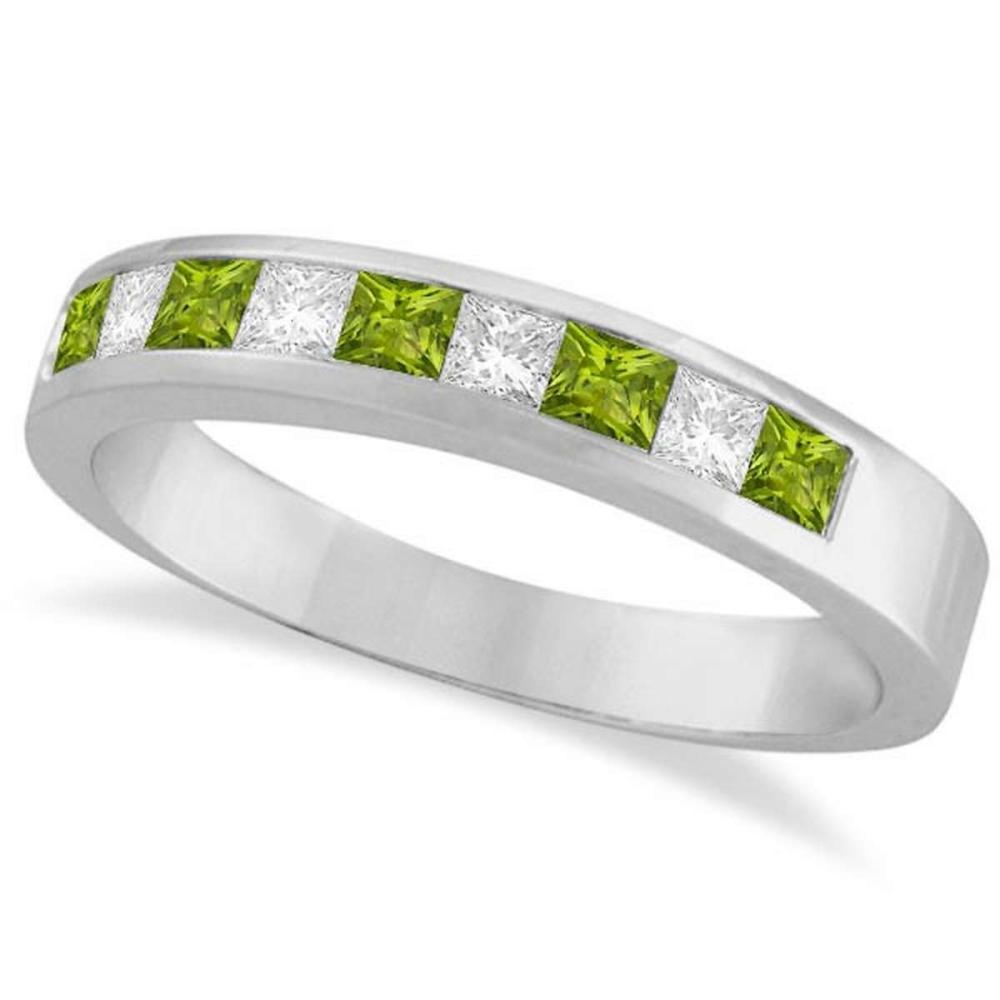 Princess Channel-Set Diamond and Peridot Ring Band 14K White Gold #PAPPS21234