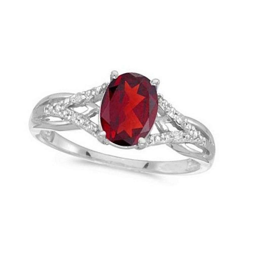 Oval Ruby and Diamond Cocktail Ring in 14K White Gold (1.52 ctw) #PAPPS21285