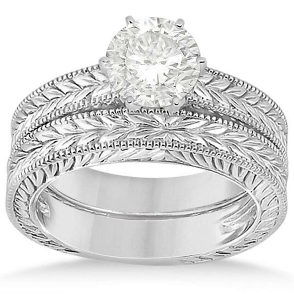 Vintage Style Filigree Solitaire Diamond Bridal Set in 14k White Gold (1.25ct) #PAPPS21282