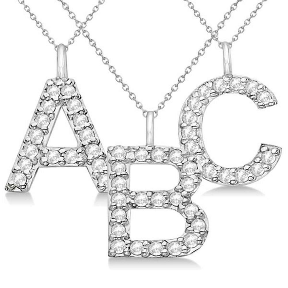 Customized Block-Letter Pave Diamond Initial Pendant in 14k White Gold #PAPPS21171