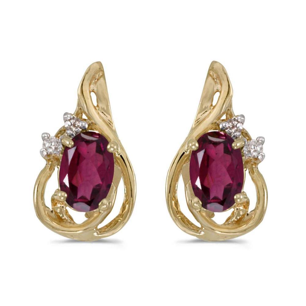 Certified 14k Yellow Gold Oval Rhodolite Garnet And Diamond Teardrop Earrings 1.02 CTW #PAPPS25787
