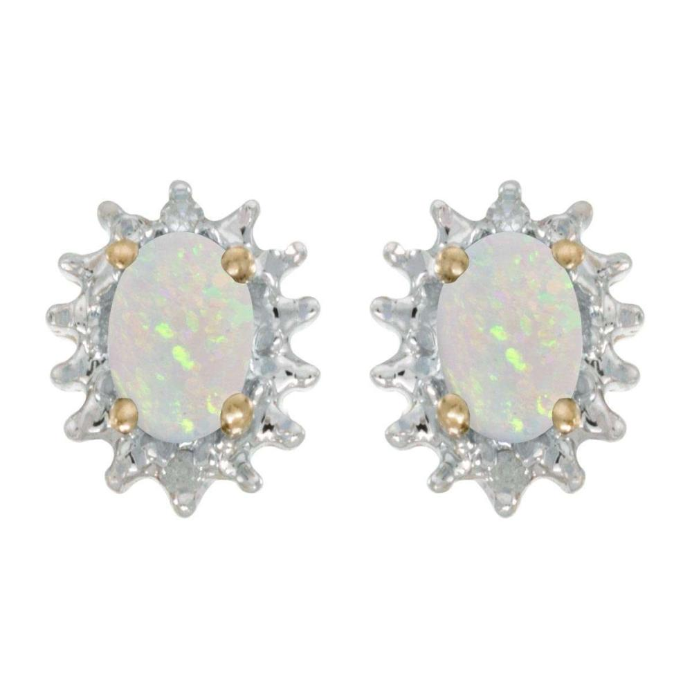 Certified 14k Yellow Gold Oval Opal And Diamond Earrings 0.42 CTW #PAPPS25823