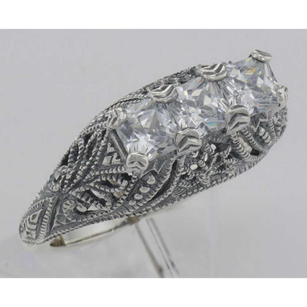 Art Deco Style Sterling Silver Filigree Ring with 3 Princess Cut CZ #PAPPS98499