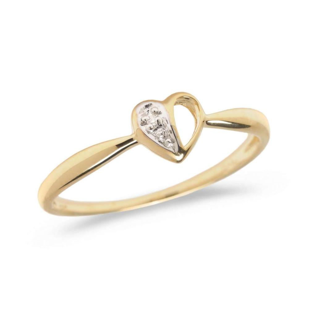Certified 10K Yellow Gold Diamond Heart Ring 0.01 CTW #PAPPS25620