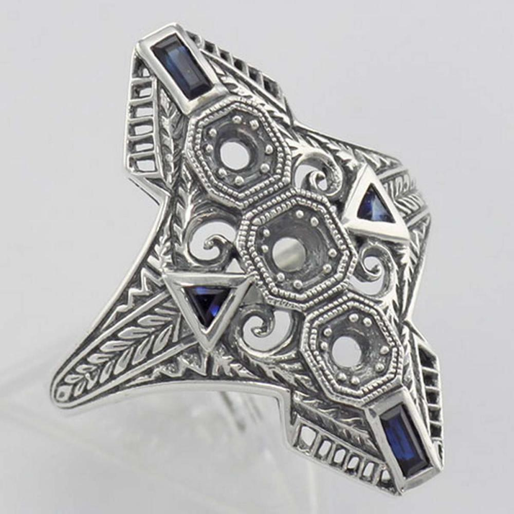 Art Deco Style Filigree Semi Mount Ring w/ Sapphires Sterling Silver #PAPPS98367