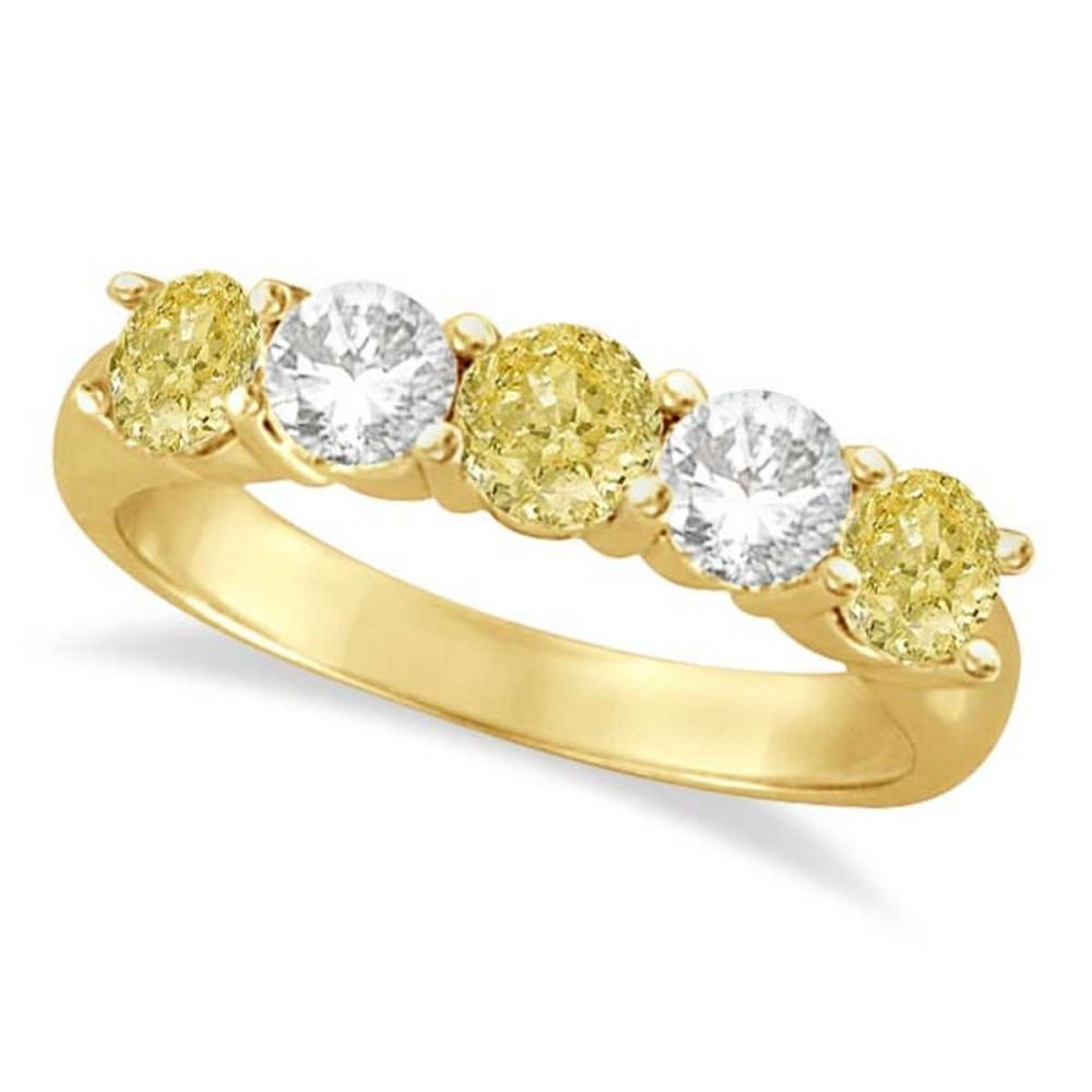 Five Stone White and Fancy Yellow Diamond Ring 14k Yellow Gold (1.50ctw) #PAPPS21141