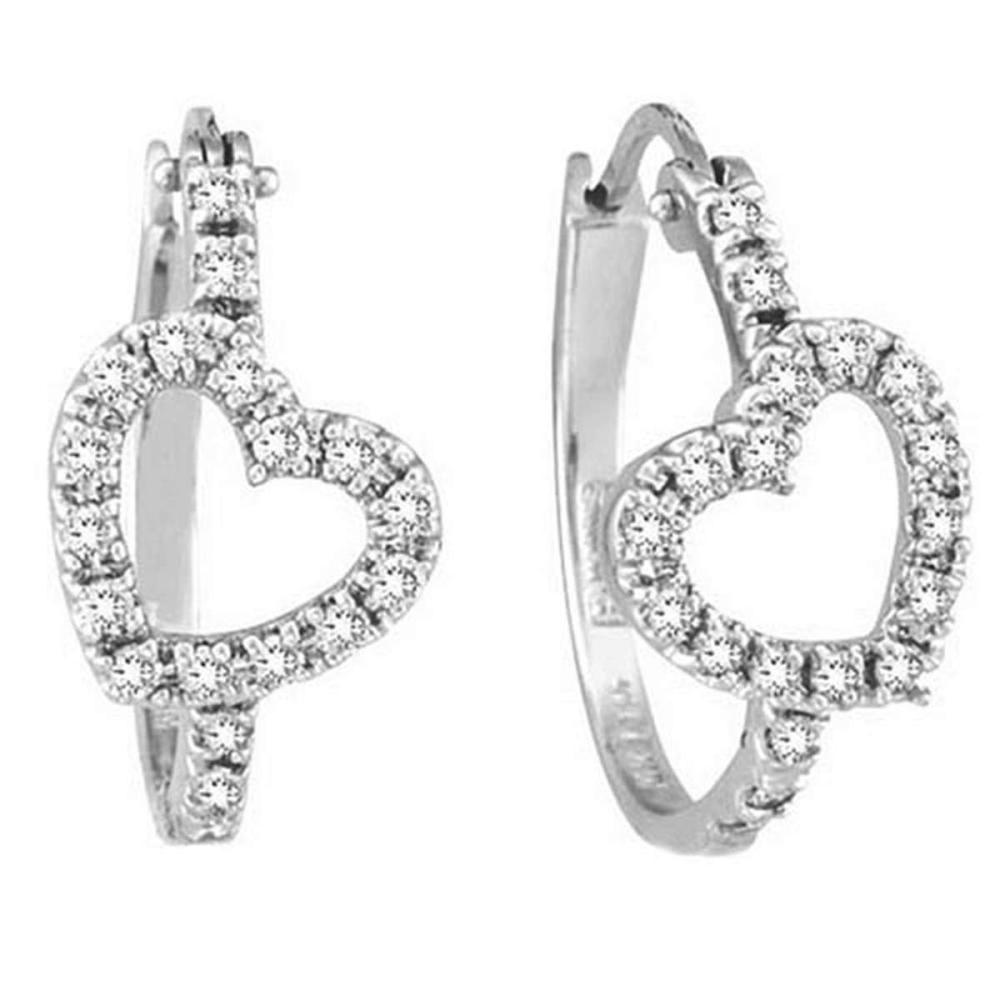 Diamond Heart Hoop Earrings in 14k White Gold (0.50ct) #PAPPS53858
