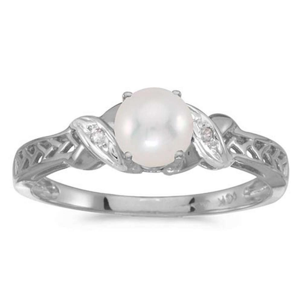 Certified 10k White Gold Pearl And Diamond Ring 0.01 CTW #PAPPS50948