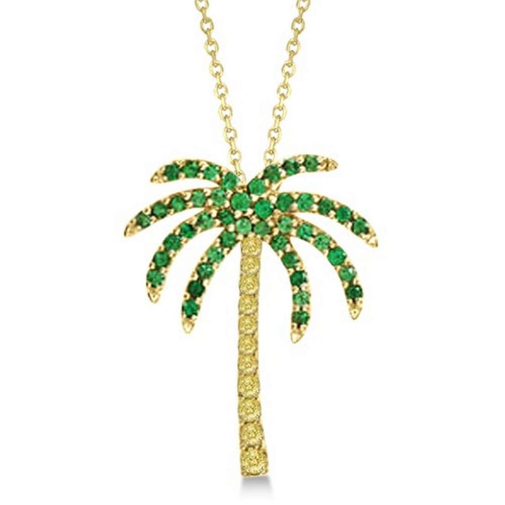 Tsavorite and Yellow Sapphire Palm Tree Necklace 14k Yellow Gold (0.30ct) #PAPPS21229
