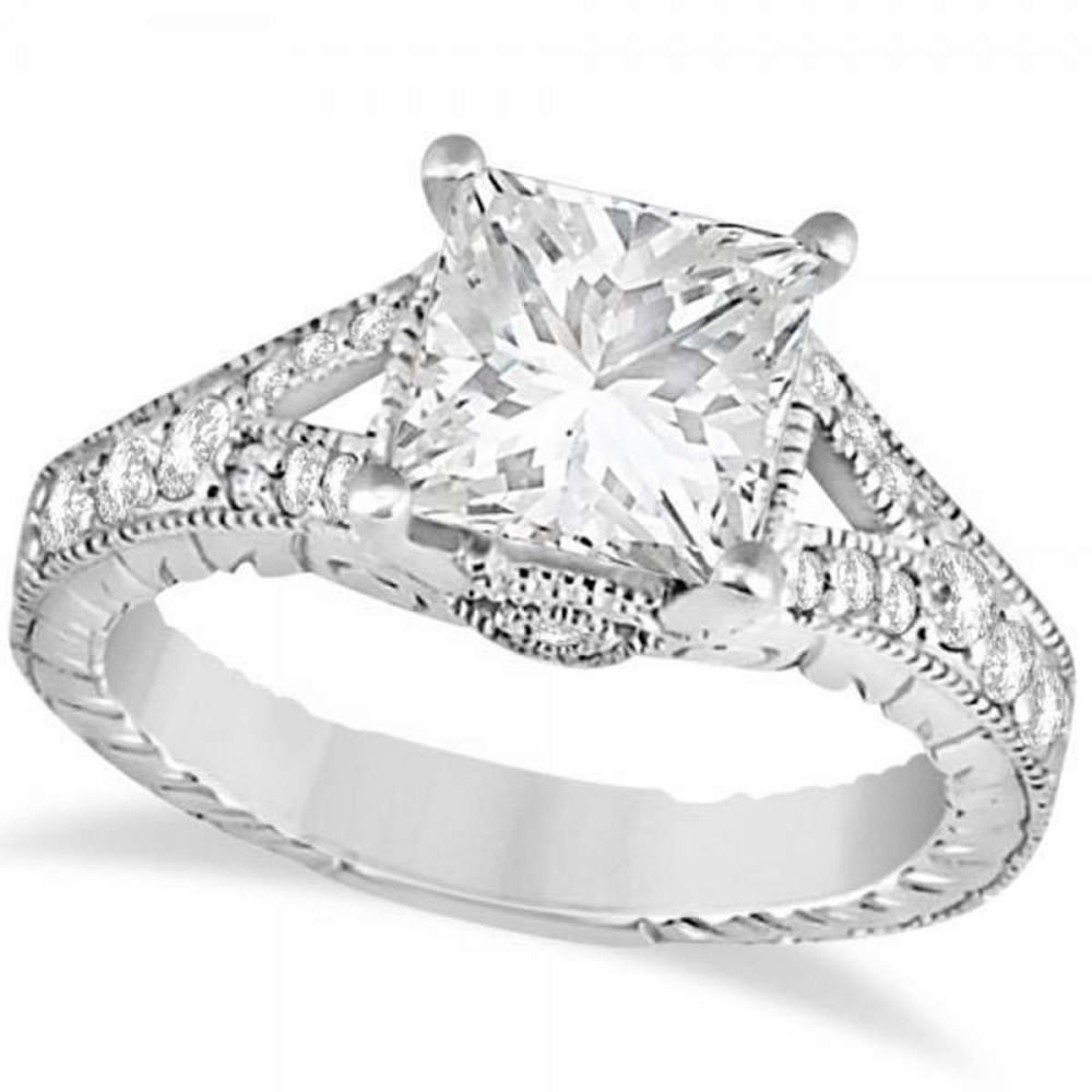 Antique Princess Cut Diamond Engagement Ring 14K White Gold (1.03ct) #PAPPS21198