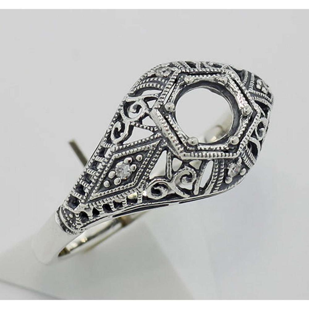 Semi Mount Art Deco Diamond Filigree Ring - Sterling Silver #PAPPS98341